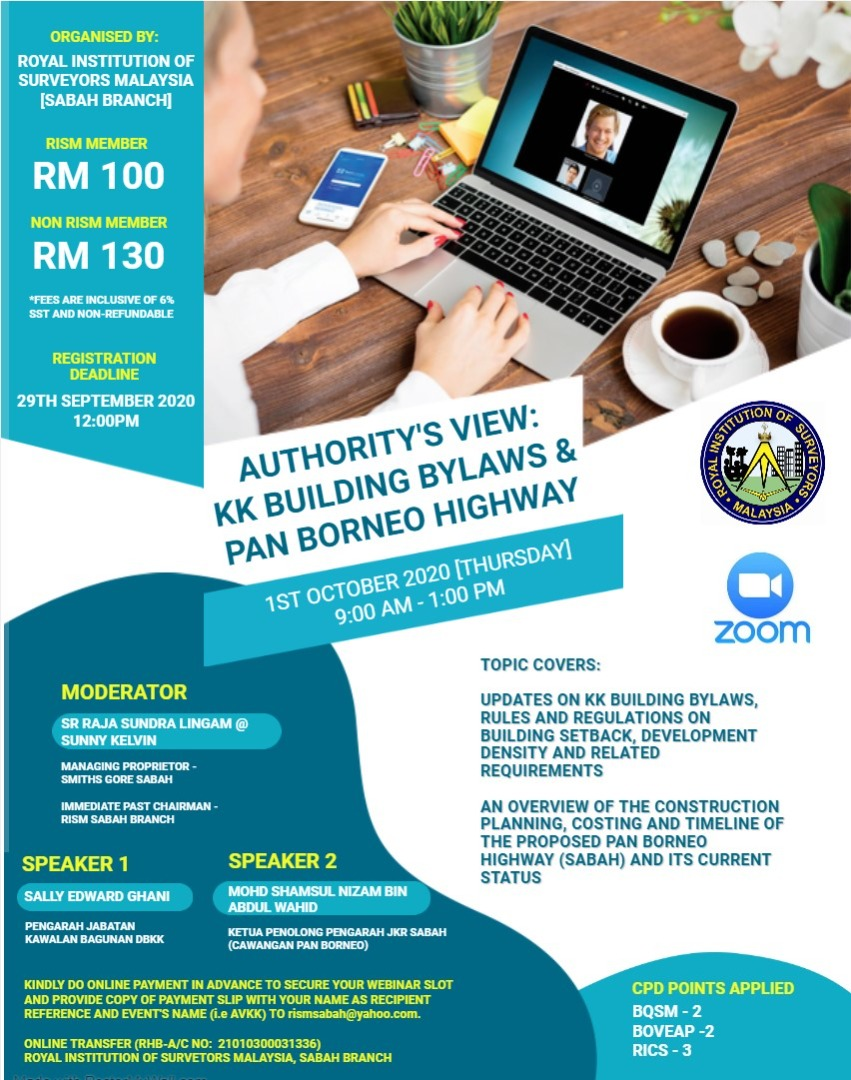 RISM SABAH - Authority's View - KK Building Bylaws & Pan Borneo Highway (ZOOM Webinar) @ ROYAL INSTITUTION OF SURVEYORS MALAYSIA | Tulsa | Oklahoma | United States