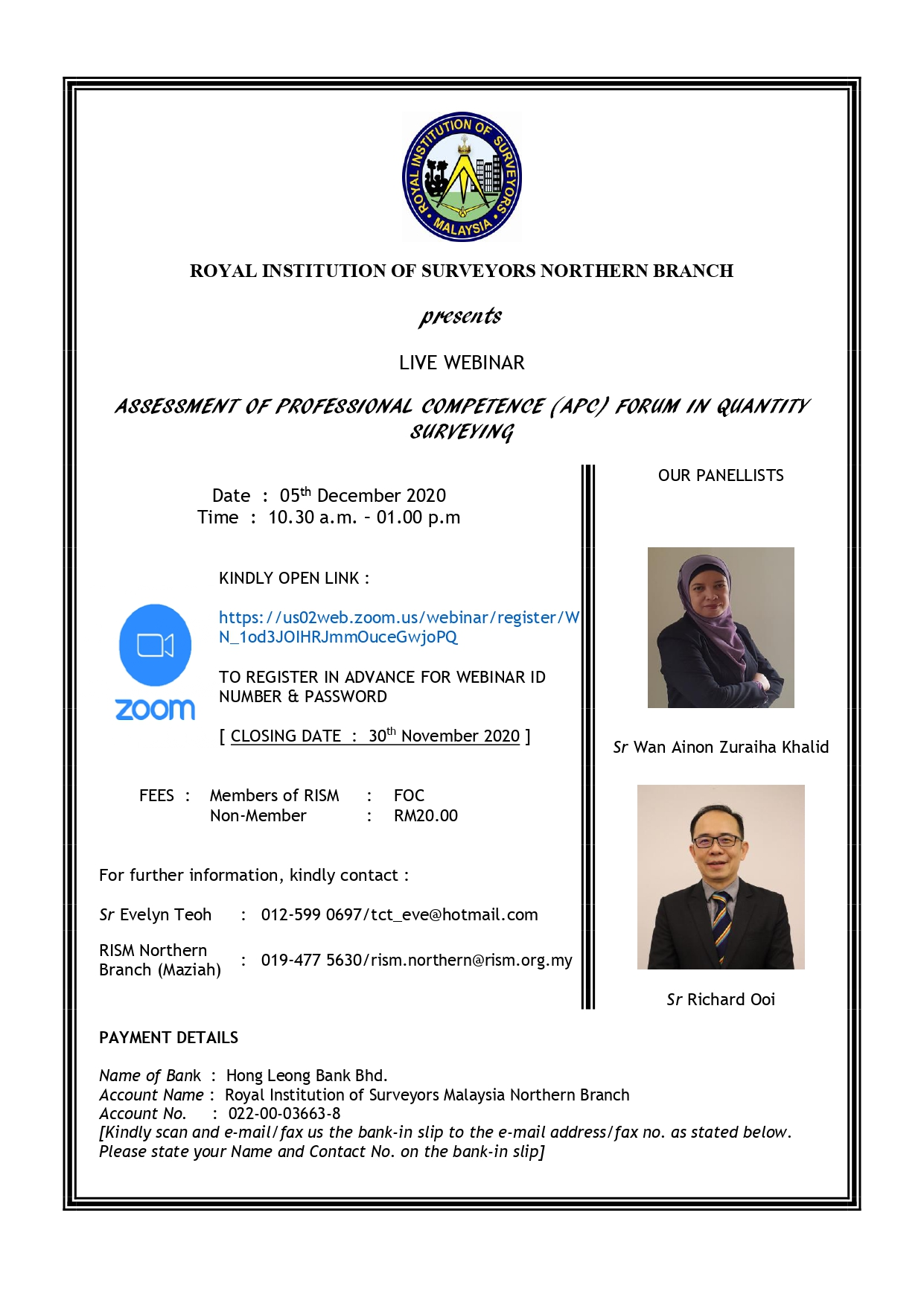 ASSESSMENT OF PROFESSIONAL COMPETENCE (APC) FORUM IN QUANTITY SURVEYING - LIVE WEBINAR
